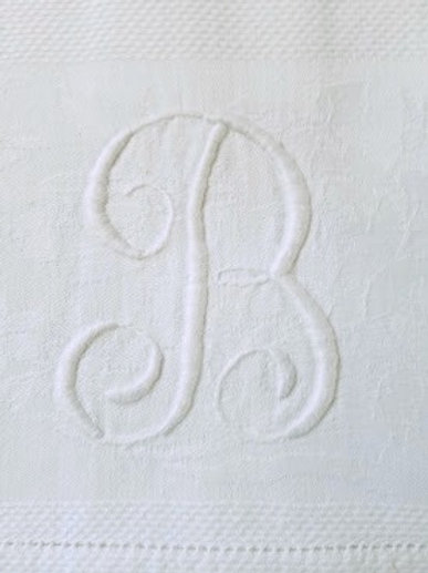 Linen Tea Towel B monogram Damask Vintage