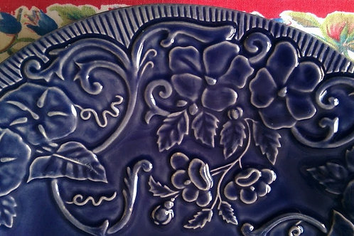Bordallo Pinheiro Flowers Blue Cobalt Blue Dinner Plate Bowl Portugal