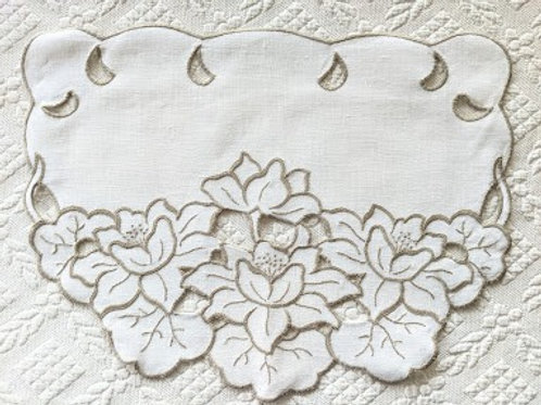 Armchair Antimacassar White Tan Floral Embroidery