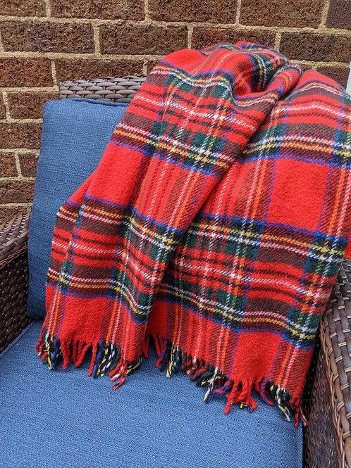 James Pringle Weavers Royal  Stewart Plaid Pure Wool Blanket Red Scotland