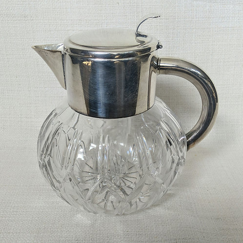 Midcentury French Cut-Glass and Silvered Brass Pitcher Ice Holder Insert