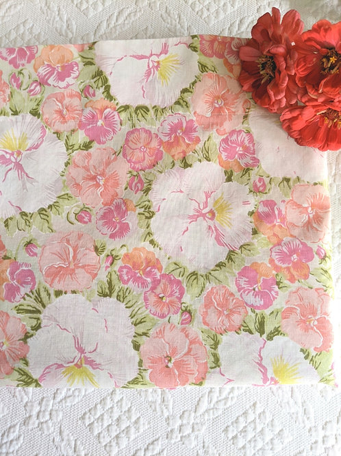 Vintage Floral Full Flat Sheet Sears Perma-Prest Hibiscus White Pink Floral