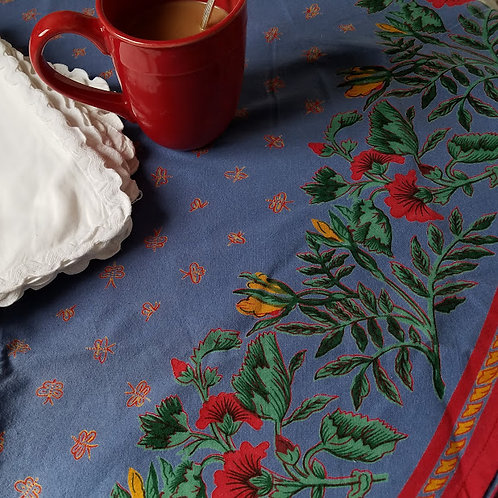 """Williams Sonoma 70"""" Round Tablecloth Provence Blue/Red/Gold"""