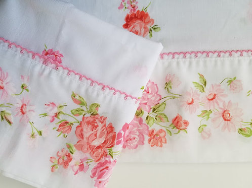 JCP Fashion Manor Penn Prest Pink Floral Flat Twin Sheet Case