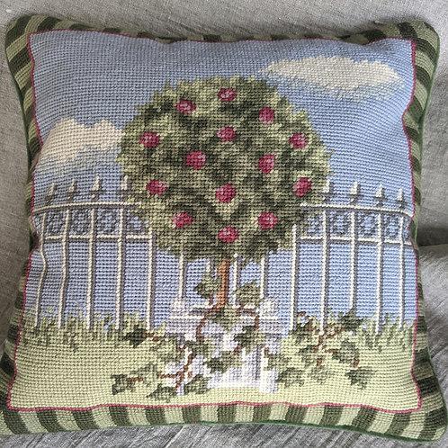 "Needlepoint Pillow Hand Stitched Apple Tree Blue Green Velvet 14"""