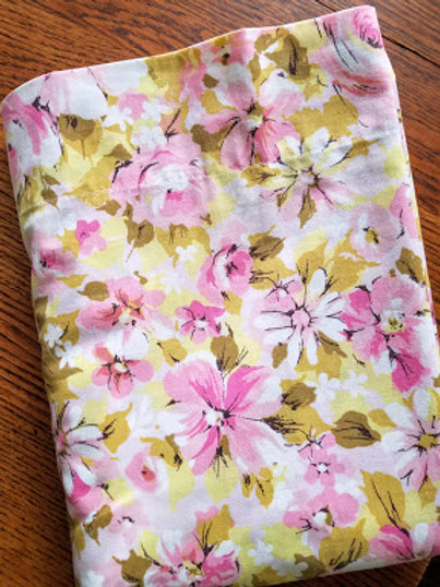 Springmaid Pink Floral Twin Vintage Flat Sheet