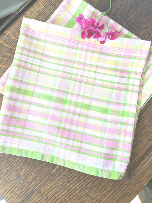 April Cornell Napkins~ Set of 2~Pink Yellow Green Plaid