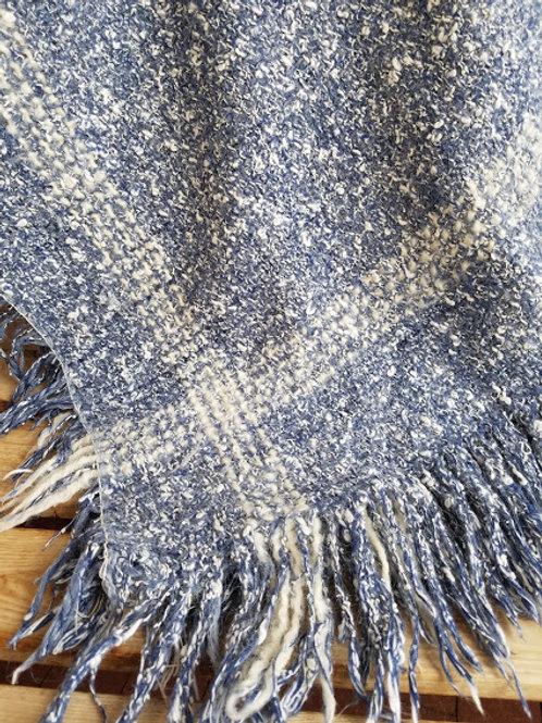 Wool Lap Blanket Throw~Denim Blue and Cream