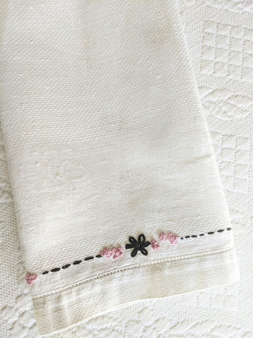 Linen Towel Hand Embroidered Small 22 x 14