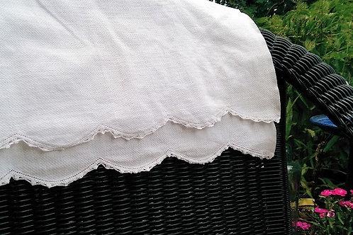 """Linen Damask Tea Towel~Crochet Trim~Cotton~32"""" x 17"""""""