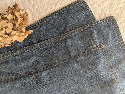 Eddie Bauer Denim  Std. Sham Medium Blue Gold Stitching