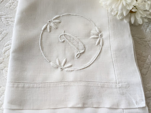 """Linen Tablecloth White Monogram D Floral Embroidery Square 35"""""""
