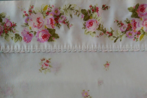 Sears Perma-Prest Percale Std. Pillow Case~Wh/Pink Floral