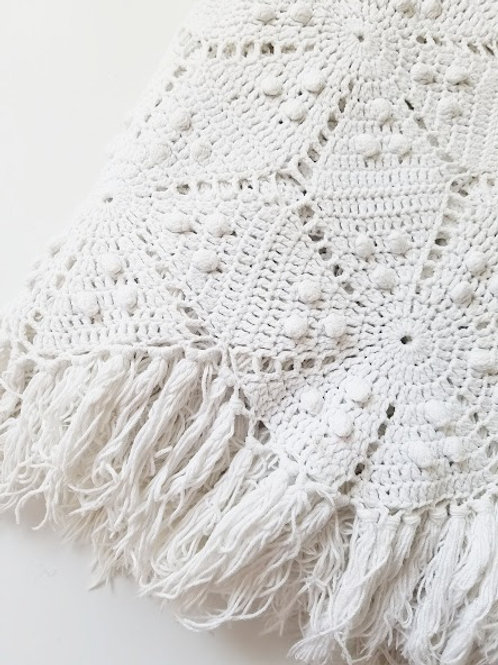 Vintage Handmade Crocheted White Popcorn Cotton Spread Fringe