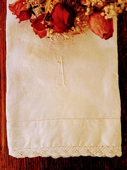 "Shamrock Irish Damask Tea Towel ""A"" Monogram Large"