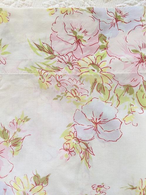 Floral Full Vintage Flat Sheet PEQUOT Percale