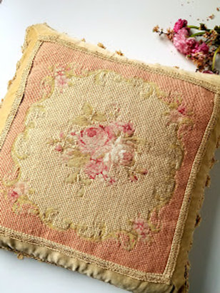 """SHABBY CHIC Pink Aubusson Rose Pillow French Decor 16""""  Down Insert 16""""  Down Insert"""
