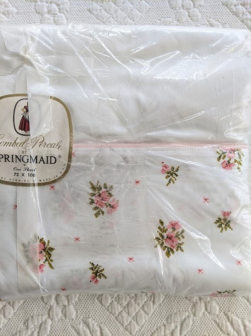 Springmaid Vintage Flat Sheet Twin 72 X 108 Combed Percale White Pink