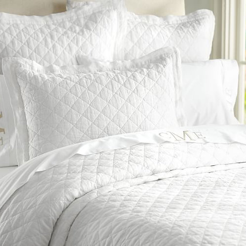 Pottery Barn Belgian Flax Quilt~King~White