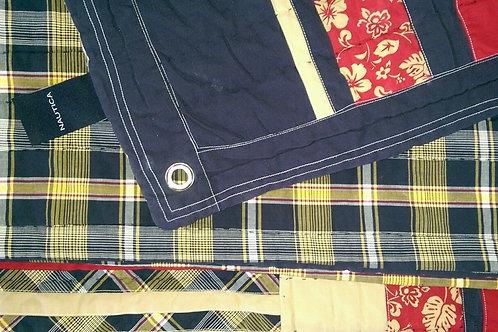 Nautica Plaid Reversible Quilt/Blanket~Navy/Rd/Tan/