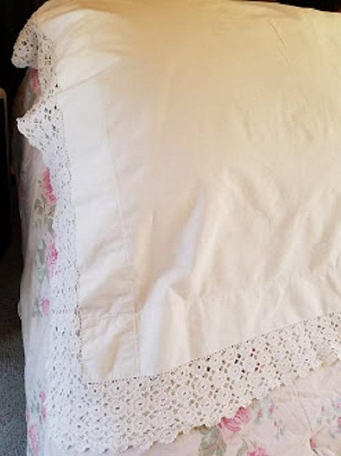 Linen Pillow Cover Layover Crochet Trim Vintage