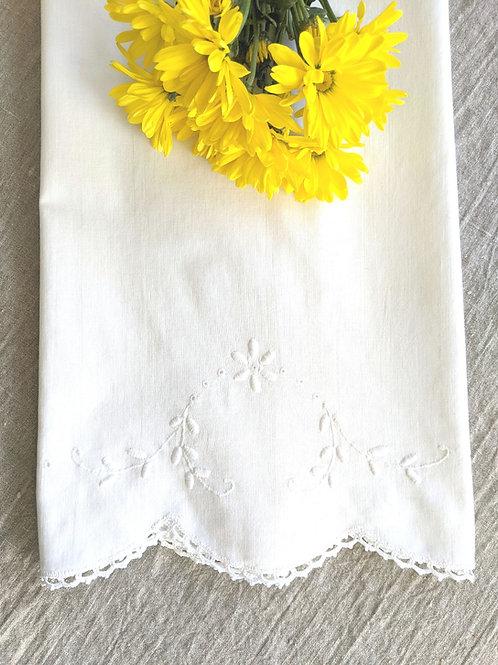 Pillowcase White on White Floral Embroidery