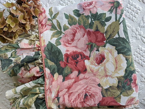 Floral Full Vintage Ruffled Flat Sheet Cream Pinks Green