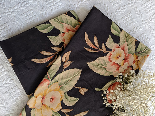 Ralph Lauren Charleston King Pillowcase Pair Black Floral