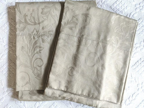 Sateen King Case Pair Tan Cotton Floral Swirls