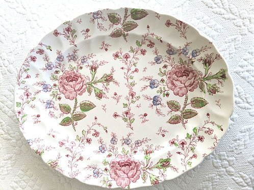 "Johnson Bros Rose Chintz 12"" Platter Green Mark"
