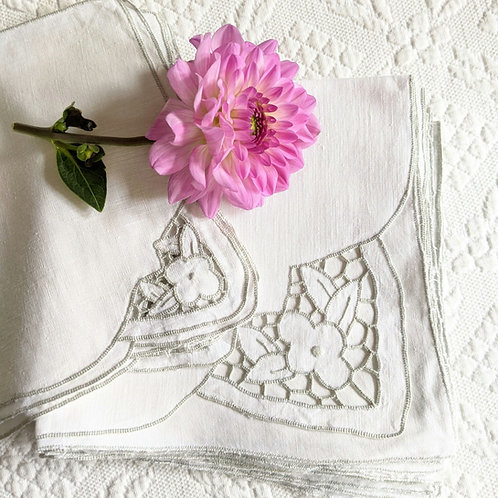 Linen Dinner &  Cocktail Napkins White Gray Set of 16 Floral Embroidery