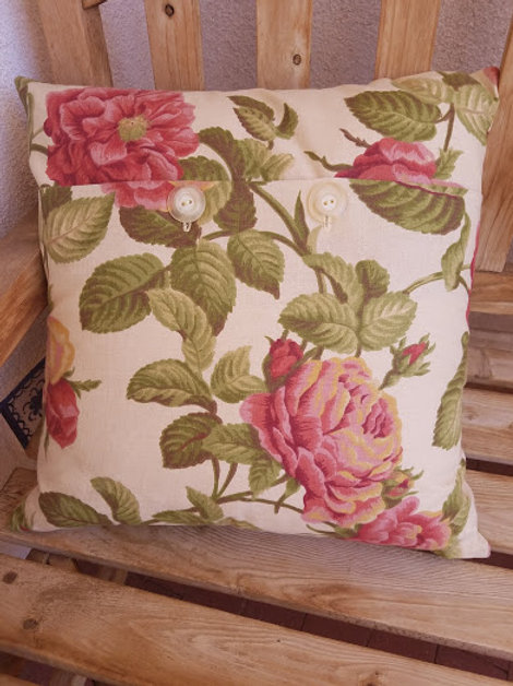 Handmade Pillow~Floral Cotton~Vintage TrimButtons