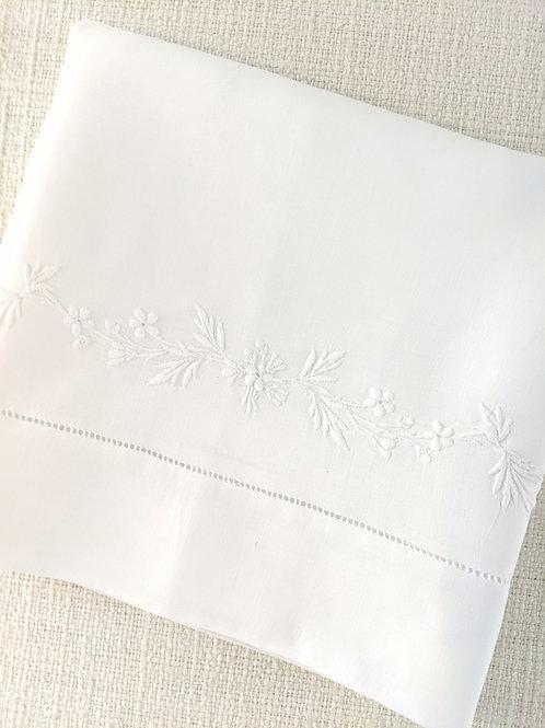 Vintage Oversized Pillowcase Floral Embroidery White on White