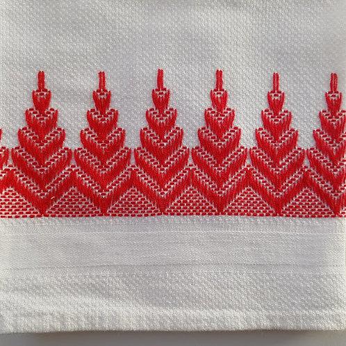 """Tea Towel Red Weave Trim Cotton 28"""" x 16.5"""""""