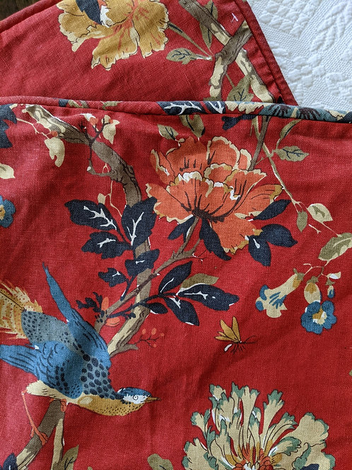"Pottery Barn Red 26"" Sq Linen Cotton Brighton Bird Floral Pillow Cover"