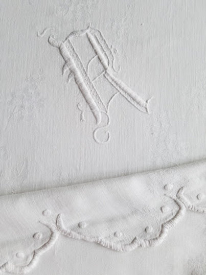 White Damask Linen Scalloped Monogram R 82 x 65 Sheet
