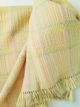 Vintage Handwoven Baby Stroller Blanket Pink Blue Yellow
