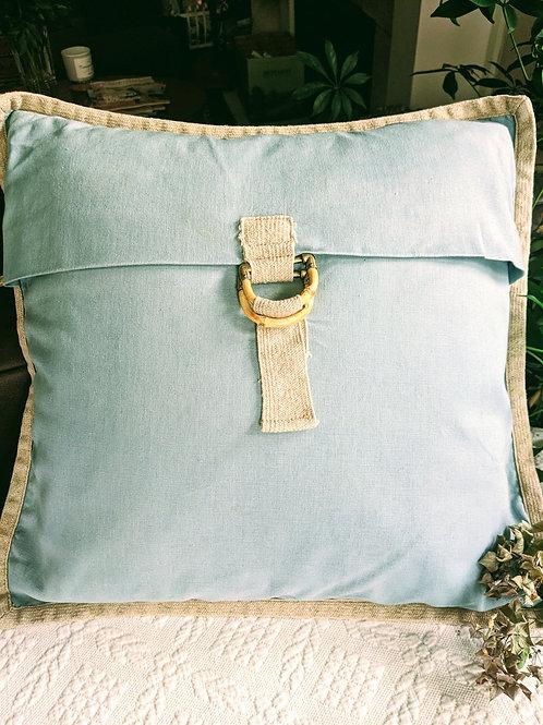 Pottery Barn Cotton Linen Pillow Aqua Blue Bamboo Buckle Jute Trim
