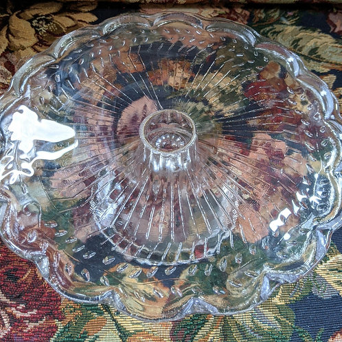 """Glass 9"""" Round Pedestal Cake Stand Vintage Small"""