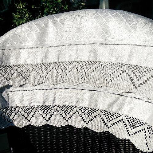 """Large Damask Tea Towel~Crochet Trim~Cotton~38"""" x 23"""""""