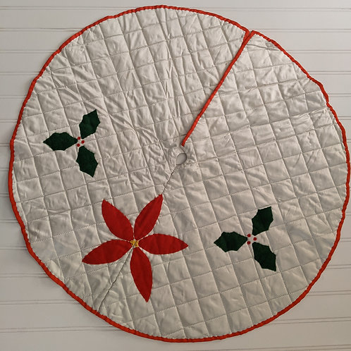 Vintage Christmas Holiday Tree Skirt Small Poinsettia