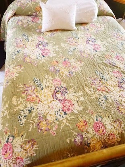 Soft Surroundings Green Floral King Quilt