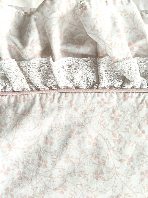 Laura Ashley Vintage Imogen Pink Floral Ruffled Twin Flat Sheet