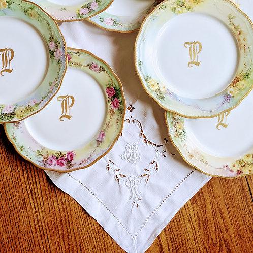 Hand Painted Floral Dessert Plates Monogram P