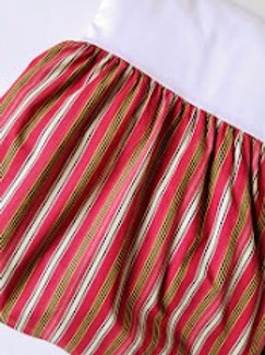 Chaps Bed Skirt King Red Black Gold Cream Striped