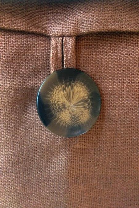 """Pottery Barn Linen Brown Pillow~Button~19"""" x 18"""""""