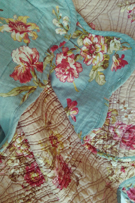 Noble Excellence Quilted Std. Shams~Floral~Linen Cotton