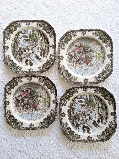 Johnson Bros Friendly Village Square Four Plates Christmas Sledding