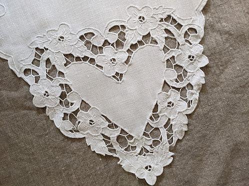 Handstitched Linen Runner Cutwork Hearts Vintage