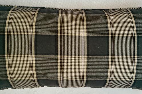 Ballard Design Plaid Lumbar Pillow~Black Tan~Cotton